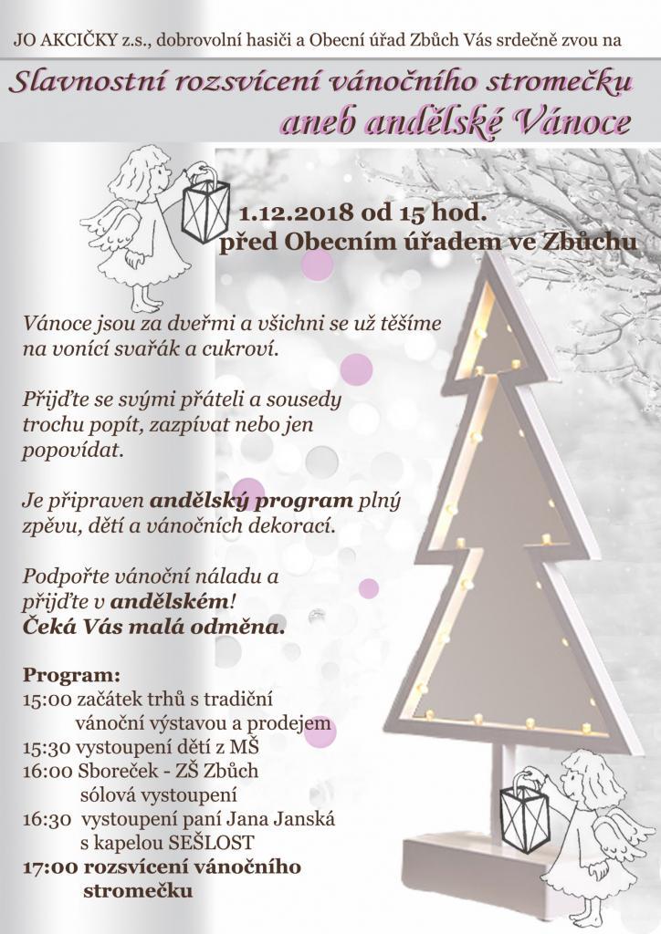 Rozsvícení vánočního stromečku Zbůch 2018 1
